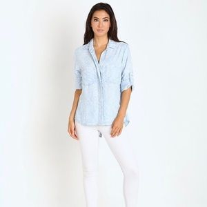 Bella Dahl Split Back Chambray Button Down Tribal